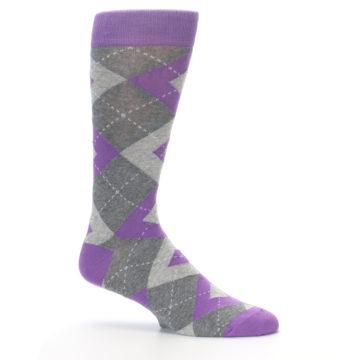 Image of Wisteria Purple Gray Argyle Men's Dress Socks (side-1-25)