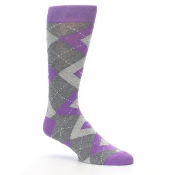 Image of Wisteria Purple Gray Argyle Men's Dress Socks (side-1-26)