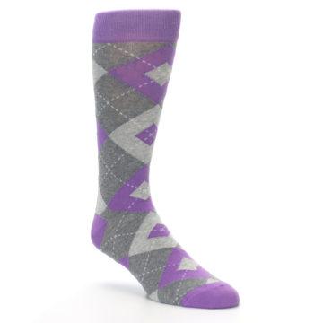 Image of Wisteria Purple Gray Argyle Men's Dress Socks (side-1-27)