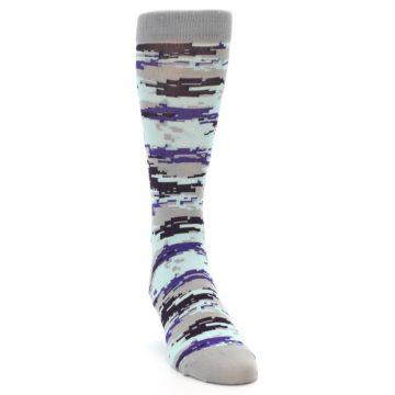 Image of Grey Purple Aqua Camo Men's Dress Socks (side-1-front-03)