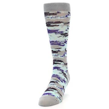 Image of Grey Purple Aqua Camo Men's Dress Socks (side-2-front-06)