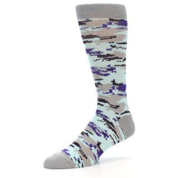 Image of Grey Purple Aqua Camo Men's Dress Socks (side-2-09)