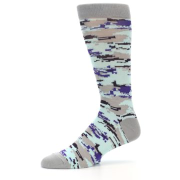 Image of Grey Purple Aqua Camo Men's Dress Socks (side-2-10)