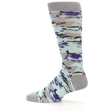 Image of Grey Purple Aqua Camo Men's Dress Socks (side-2-12)
