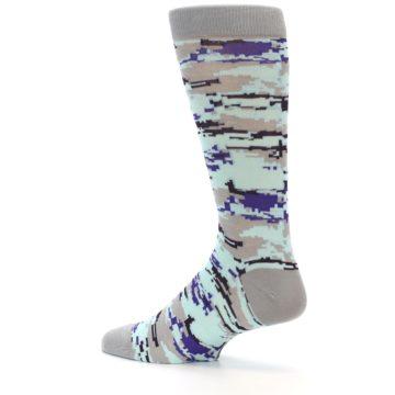 Image of Grey Purple Aqua Camo Men's Dress Socks (side-2-13)