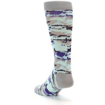 Image of Grey Purple Aqua Camo Men's Dress Socks (side-2-back-15)