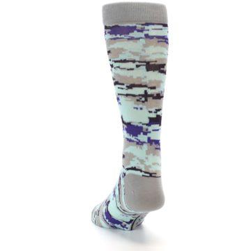 Image of Grey Purple Aqua Camo Men's Dress Socks (side-2-back-16)