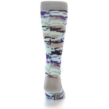 Image of Grey Purple Aqua Camo Men's Dress Socks (back-18)