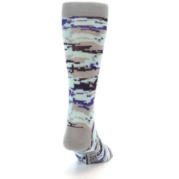 Image of Grey Purple Aqua Camo Men's Dress Socks (back-19)