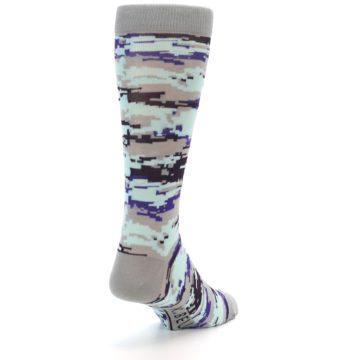 Image of Grey Purple Aqua Camo Men's Dress Socks (side-1-back-20)