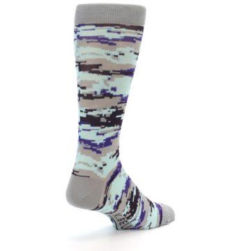 Image of Grey Purple Aqua Camo Men's Dress Socks (side-1-back-21)