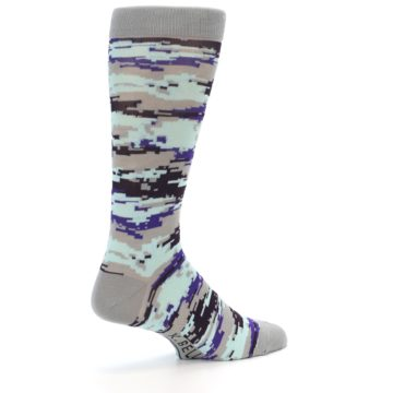 Image of Grey Purple Aqua Camo Men's Dress Socks (side-1-back-22)
