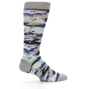 Image of Grey Purple Aqua Camo Men's Dress Socks (side-1-23)