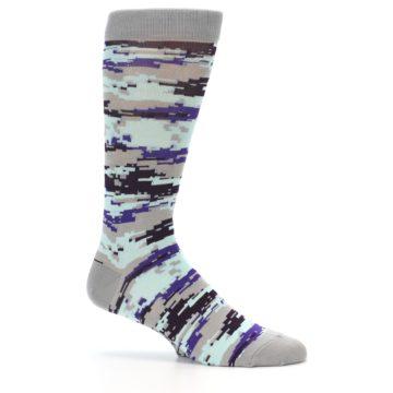 Image of Grey Purple Aqua Camo Men's Dress Socks (side-1-25)