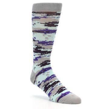 Image of Grey Purple Aqua Camo Men's Dress Socks (side-1-27)