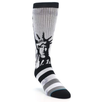 Image of Black Grey Lady Liberty Men's Casual Socks (side-1-front-03)