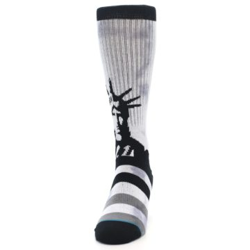 Image of Black Grey Lady Liberty Men's Casual Socks (side-2-front-06)
