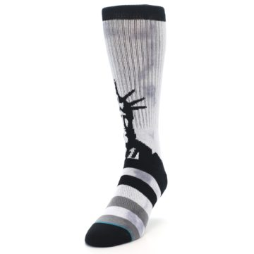 Image of Black Grey Lady Liberty Men's Casual Socks (side-2-front-07)