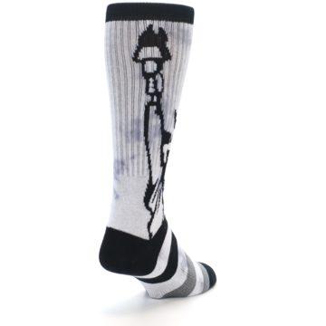 Image of Black Grey Lady Liberty Men's Casual Socks (side-1-back-20)