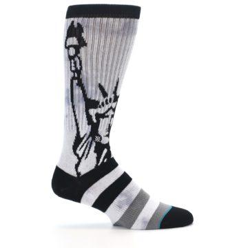 Image of Black Grey Lady Liberty Men's Casual Socks (side-1-24)