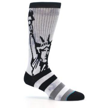 Image of Black Grey Lady Liberty Men's Casual Socks (side-1-25)