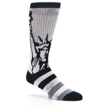 Image of Black Grey Lady Liberty Men's Casual Socks (side-1-26)
