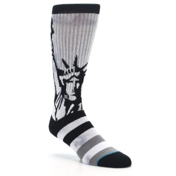 Image of Black Grey Lady Liberty Men's Casual Socks (side-1-27)