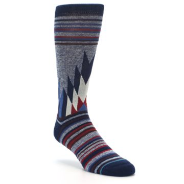 Image of Blue Red Navy Patterned Men's Casual Socks (side-1-front-02)