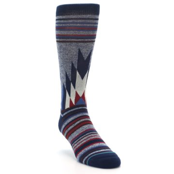 Image of Blue Red Navy Patterned Men's Casual Socks (side-1-front-03)