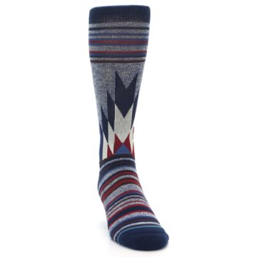Image of Blue Red Navy Patterned Men's Casual Socks (front-04)