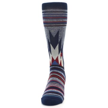 Image of Blue Red Navy Patterned Men's Casual Socks (side-2-front-06)