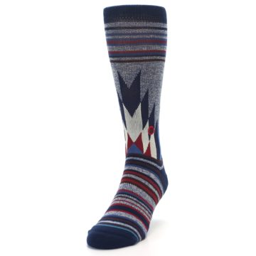 Image of Blue Red Navy Patterned Men's Casual Socks (side-2-front-07)