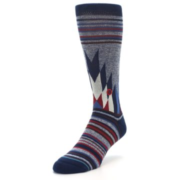 Image of Blue Red Navy Patterned Men's Casual Socks (side-2-front-08)