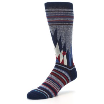 Image of Blue Red Navy Patterned Men's Casual Socks (side-2-09)