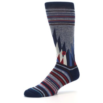 Image of Blue Red Navy Patterned Men's Casual Socks (side-2-10)