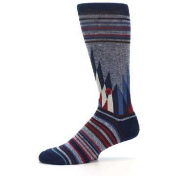Image of Blue Red Navy Patterned Men's Casual Socks (side-2-11)