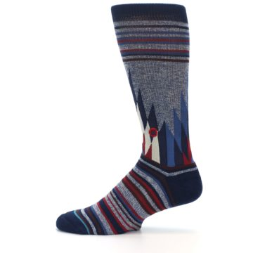 Image of Blue Red Navy Patterned Men's Casual Socks (side-2-12)