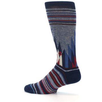 Image of Blue Red Navy Patterned Men's Casual Socks (side-2-13)