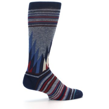 Image of Blue Red Navy Patterned Men's Casual Socks (side-1-23)