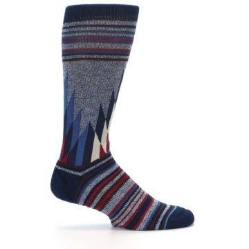 Image of Blue Red Navy Patterned Men's Casual Socks (side-1-24)