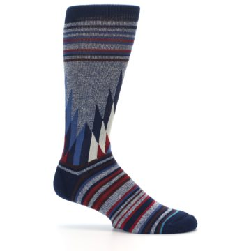 Image of Blue Red Navy Patterned Men's Casual Socks (side-1-25)