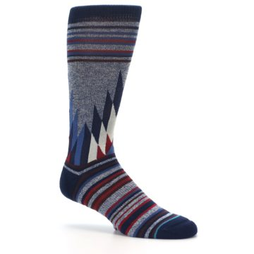 Image of Blue Red Navy Patterned Men's Casual Socks (side-1-26)