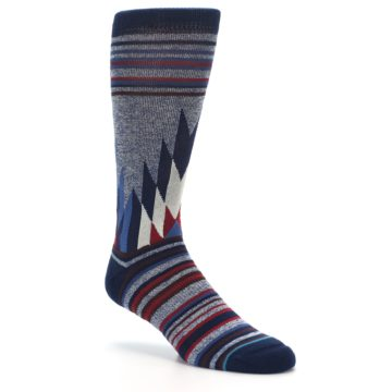Image of Blue Red Navy Patterned Men's Casual Socks (side-1-27)