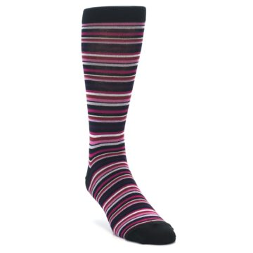 Image of Black Purple Pink Stripe Men's Dress Socks (side-1-front-02)