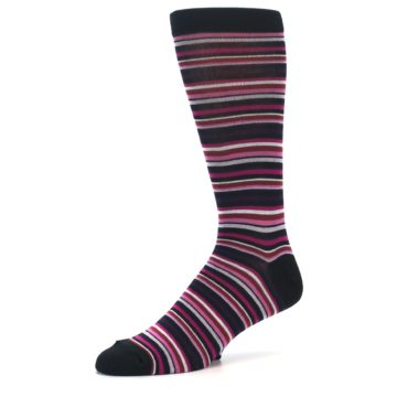Image of Black Purple Pink Stripe Men's Dress Socks (side-2-09)
