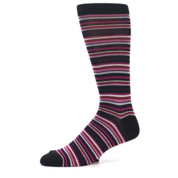 Image of Black Purple Pink Stripe Men's Dress Socks (side-2-10)
