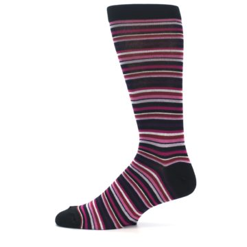 Image of Black Purple Pink Stripe Men's Dress Socks (side-2-11)