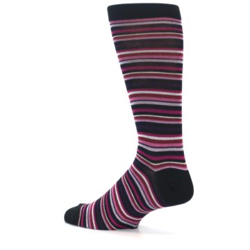 Image of Black Purple Pink Stripe Men's Dress Socks (side-2-13)