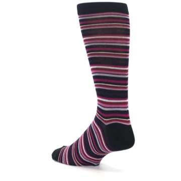 Image of Black Purple Pink Stripe Men's Dress Socks (side-2-back-14)