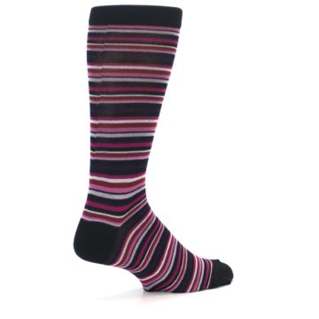 Image of Black Purple Pink Stripe Men's Dress Socks (side-1-back-22)